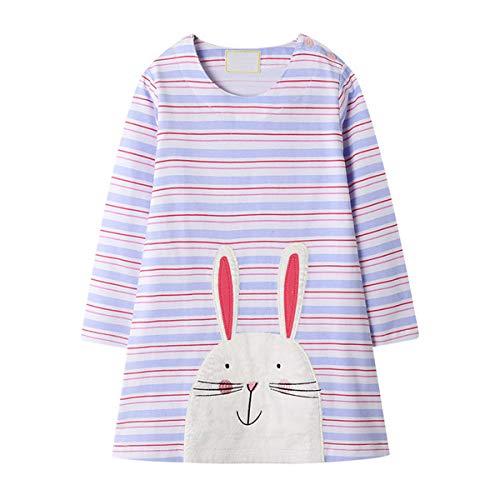 LZH Mädchen Kleider 2–7 Jahre Mädchen Langarm Kleid Kinder tägliche Kleidung Mädchen Baumwolle Freizeitkleidung Herbst Kleid,M-hell Lila,3 Jahre
