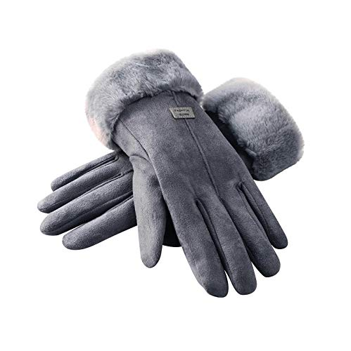 N / C Womens Plüsch Warme Winterhandschuhe Winddichte Thermohandschuhe für Radfahren & Laufen & Motorrad (Grau)