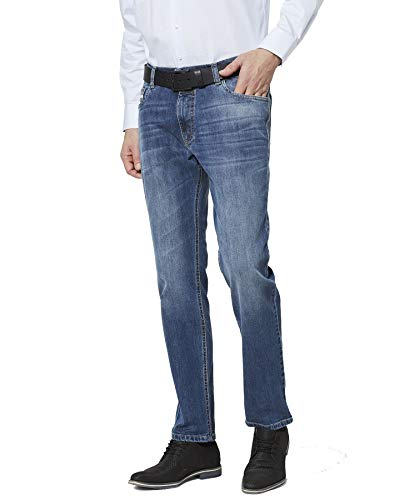 bugatti Herren Jeans Blau Blue Stone Leichter Used Look Modern Fit Schmales Bein (Art.-Nr.: 3919D-26612-344) (W36/L32)