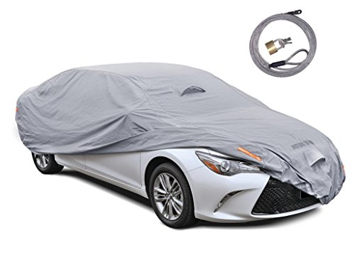 Motor Trend TrueShield Waterproof Car Cover - Heavy Duty Outdoor Fleece-Lined Sonic Coating - Ultimate 6 Layer Protection (Full Size up to 190' L)