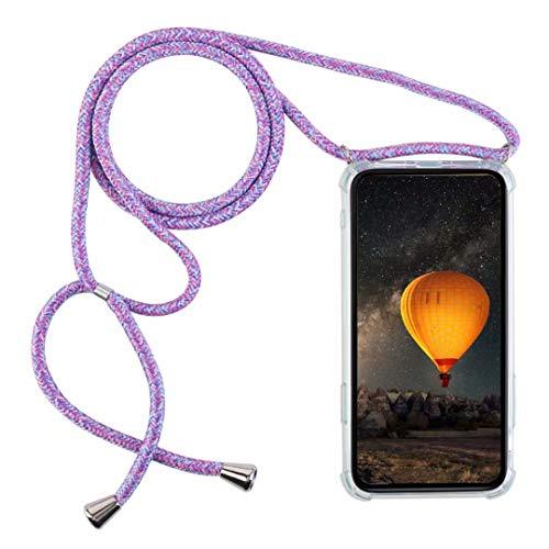 YFXP Funda Compatible con Samsung Galaxy A91/S10 Lite Transparente TPU con Correa Colgante Ajustable Collar Correa de Cuello Cadena.