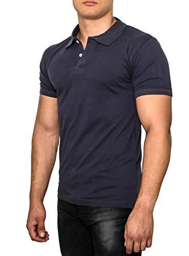 Crone Paul Herren Polo Shirt Pique Slim Fit Kurzarm Polohemd (XXL, Dunkelblau)