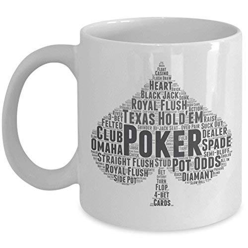 Taza de café de cerámica para jugar al blackjack Texas Hold'em poker Game Tea Cup – para los amantes de las cartas (11 oz)