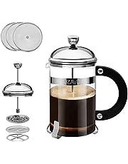 OZAVO Kaffeberedare glas, French Press kaffepress med rostfritt stål filter och ram av rostfritt stål, kaffeberedare presskanna för kaffe eller te, 800 ml