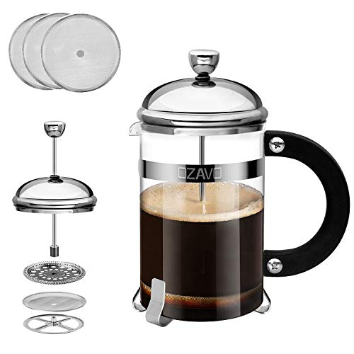 OZAVO Kaffeebereiter Glas, French Press Kaffee-Presse mit Edelstahlfilter und Edelstahl-Rahmen, Kaffeezubereiter Presskanne für Kaffee oder Tee, 800 ML