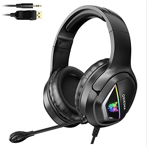 YEEWA X2 Gaming Auriculares con Cable Negros para Juegos con micrófono, Auriculares Plegables con luz LED para PC PS5 PS4 Pro Xbox One S Nintendo Switch