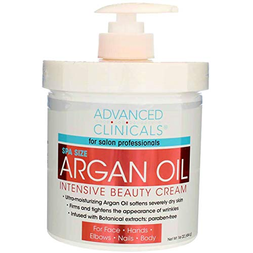 Advanced Clinicals Spa Size Pure Argan Oil Intensive Beauty Cream. Anti-aging Cream for Wrinkles and Dry Skin. 16oz Jar with a Pump. by Advanced Clinicals