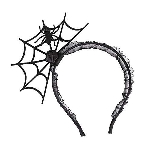Kentop Diadema de Halloween con Corona de Araña Tela de Araña Accesorio para Pelo Disfraz de Halloween Fiesta Partido (Negro)