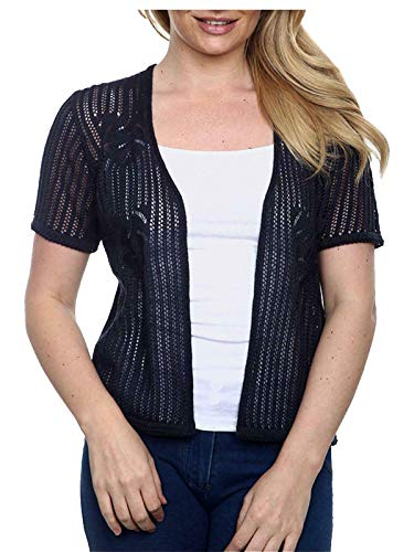 Islander Fashions Damen Kurzarm Hkeln Gestrickte Strickjacke Damen Party Wear Bolero Achselzucken Navy blau M