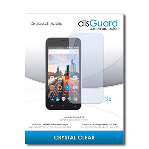 disGuard® Bildschirmschutzfolie [Crystal Clear] kompatibel mit Archos 50 Helium+ [2 Stück] Kristallklar, Transparent, Unsichtbar, Extrem Kratzfest, Anti-Fingerabdruck - Panzerglas Folie, Schutzfolie