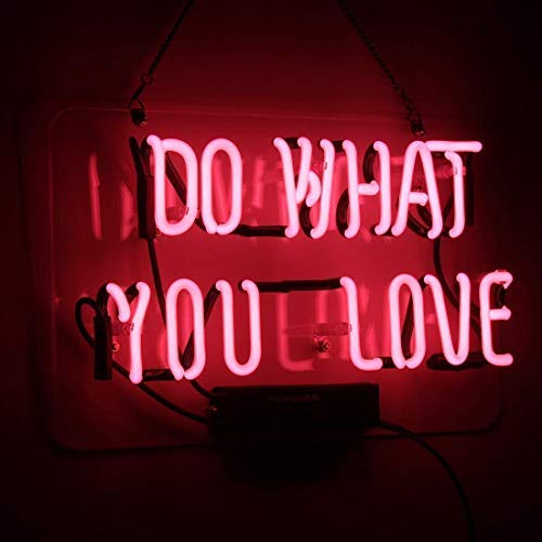 Neon Sign Do What You Love Pink Neon Light Glass Night Light for Kids Bedroom Office Bar Christmas Party Decor Wall Light 14 x 9 Inch