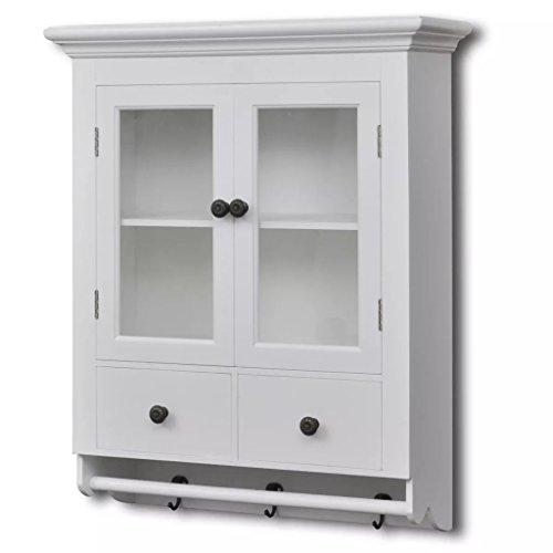 vidaXL Küchenhängeschrank Küche Wandschrank Hängeschrank mit Glastür Holz Weiß