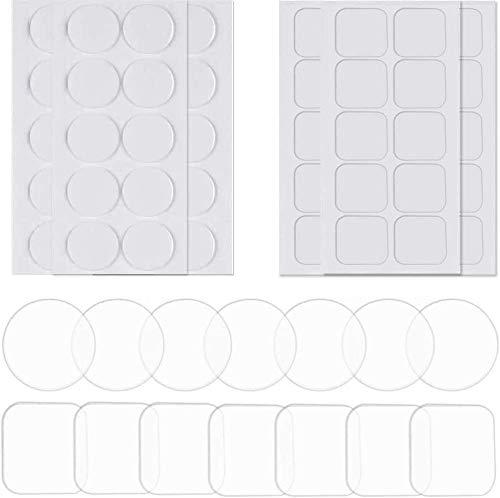 SSyang 200 Piezas Cinta Doble Cara Transparente Nano Tape,Reutilizable Lavable Adhesivo Fuerte de Doble Cara para Pegar Fotos y Pósters,Fijar Alfombras,Pegar Artículos(Cuadrado&Redondo,4×4
