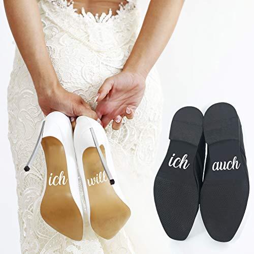P023 Schuhaufkleber Hochzeit Set Schuhsticker Aufschrift'ich will' und'ich auch' für Braut und...