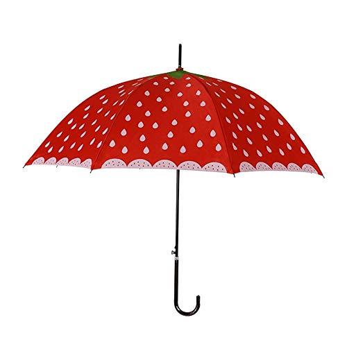 Rcsinway Sombrilla Paraguas al Aire Libre Creativo de Corea del Tallo Recto Fresa Paraguas Paraguas Fruta de la sandía Apolo arqueado Linda Princesa Paraguas (Color : Red, Size : 60cm*8K)