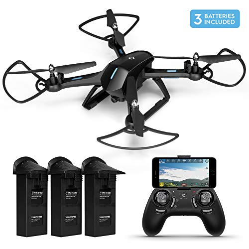 Amcrest A6-B Skyview Pro RC WiFi Drone with Camera HD 720p FPV Quadcopter Drone with Camera for Adults, 2.4ghz WiFi Helicopter w/Remote Control, 2 x Additional Batteries Included (A6-B-Batt)