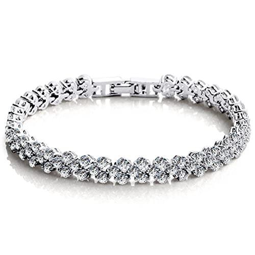 Yumoo Pulsera de moda para mujeres y niñas, estilo romano, con diamantes de imitación, pulseras de joyería para amigos de la familia