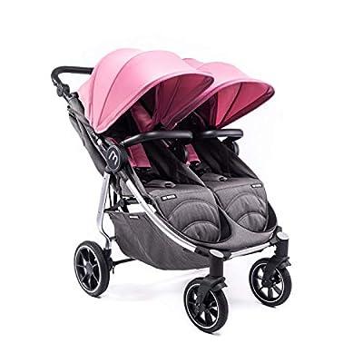 Silla Gemelar Easy Twin 4 Chasis Silver Baby Monsters Plástico de Lluvia y Barras Frontales incluidas Color Milkshake