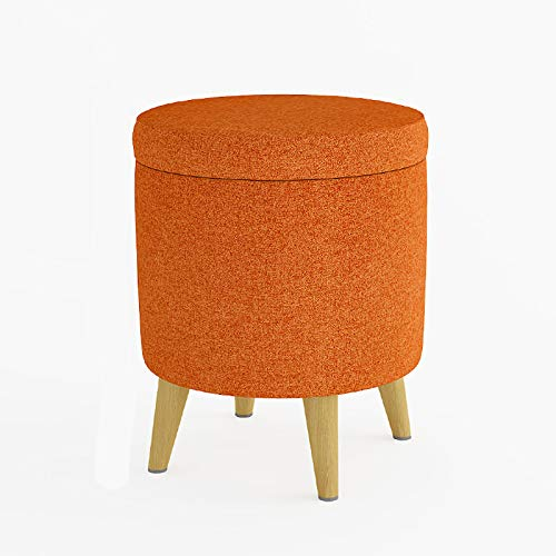 GCP Tapizado Cofre De Almacenamiento Otomana,Lino Redonda Puf Otomano De Madera Maciza Living Room Bedroom Footstools-Naranja 37x37x45cm(15x15x18inch)