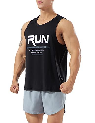 Muscle Alive Hombres Deportes Culturismo Camisetas Fitness Aptitud física Corriendo Tops TPM1-Black 2XL