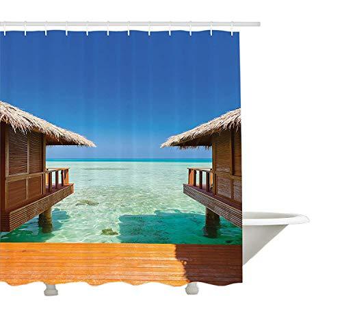Colección de decoración balinesa de Yeuss,Playa prístina bañada por Las sombrillas de Arena de la Orilla del mar de Bali Almohadas Imagen para el ocioCortina de baño72'x72'
