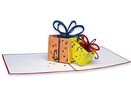 Biglietto Di Auguri Con Origami, Pacchetti Colorati