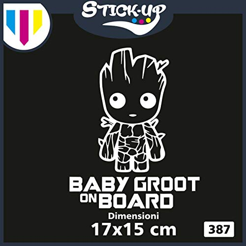 Stick-up Aufkleber Logistik-Sticker Groot -Baby Groot ON Board - Bebè Bordüre - Baby ON Board - Größe 20x25 cm - Tuning Heckscheibe Auto Motorrad Custom Decal Bimbo A Bordüre Bianco