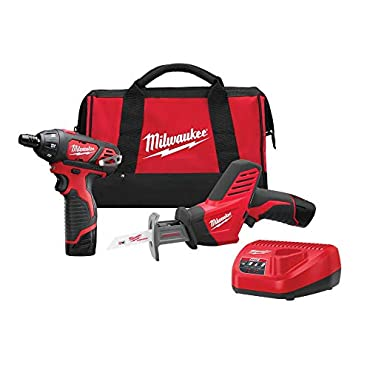 Milwaukee 2490-22 M12 12-Volt Cordless Power Lithium-Ion 2-Tool Combo Kit