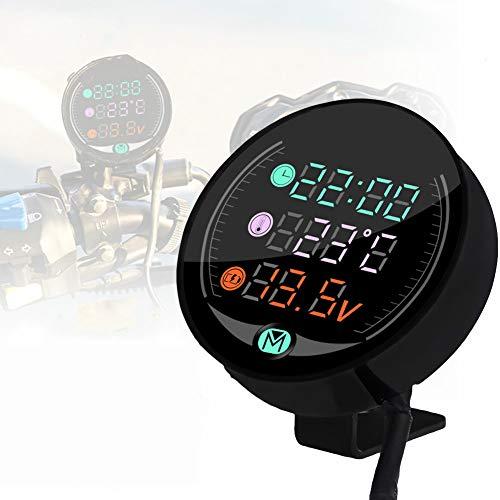 BonTime 3 in 1 Motorrad LED Elektronische Uhr Elektronisches Digitalthermometer Voltmeter Wasserdichtes multifunktionales Nachtsicht-Digitaldisplay