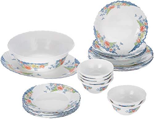 Dajar Florine Service de table 26 pièces Arcopal, verre, blanc, rouge, bleu, jaune, 37 x 29 x 32 cm, unités