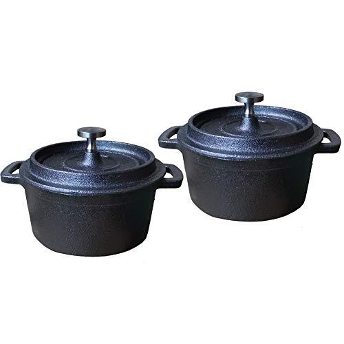 HAWOK - Sartén de hierro fundido con tapa (270 ml, 1,08 tazas)