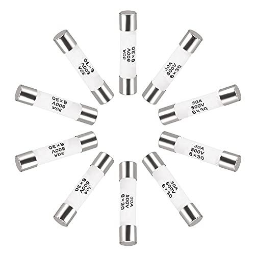 sourcing map Cerámica Cartucho Fusibles 30A 500V 6x30mm Cerámica Fusibles Rápido Golpe Reemplazo para Amplificador Energía Ahorro Lámpara Balastro 10uds
