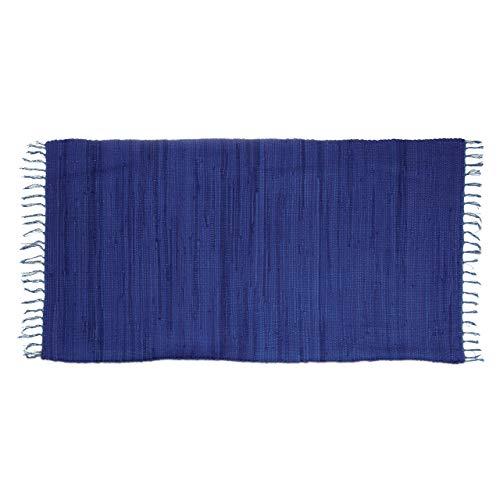 Relaxdays Flickenteppich blau 70 x 140 cm mit Fransen 100 {b4d08c3ca207de6ef1aaeae1794473ccb8486bea971d399c73f74c0906b6379b} Baumwolle, einfarbig, Fleckerlteppich, dunkelblau