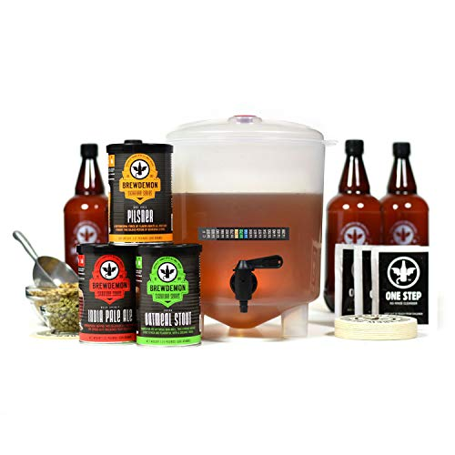 BrewDemon Craft Beer Kit with Bottles - Conical Fermenter Eliminates Sediment and Makes Great Tasting Home Made Beer - 1 gallon pilsner, stout, and IPA