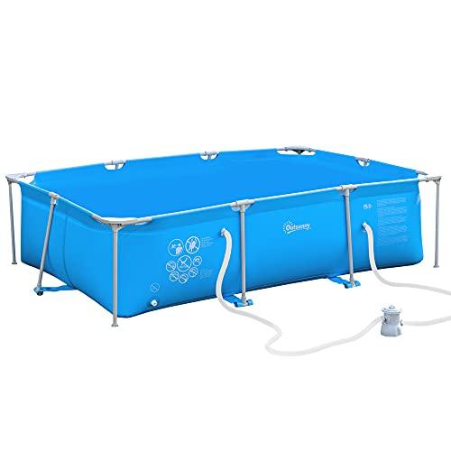 Outsunny Piscina Fuoriterra Autoportante, Piscina Rigida Rettangolare con Filtro e Valvola in Acciaio e PVC, Blu, 292x190x75cm