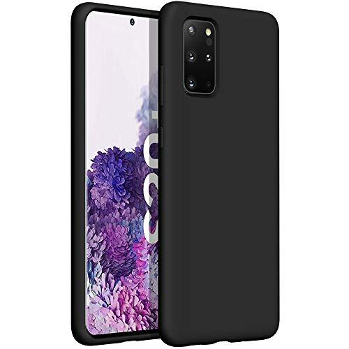 YATWIN Funda de Silicona Compatible con Samsung S20 Plus 6.7', Carcasa Samsung S20 Plus Case, Carcasa de Sedoso-Tacto Suave, Protección Funda Protectora 3 Tapas Estructura, Negro