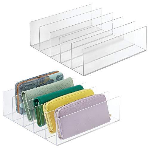 mDesign Juego de 2 Soportes para Carteras – Práctico Expositor de plástico para Bolsos de Mano, monederos, billeteros, etc. – Organizador de Bolsos con 5 Ranuras – Transparente