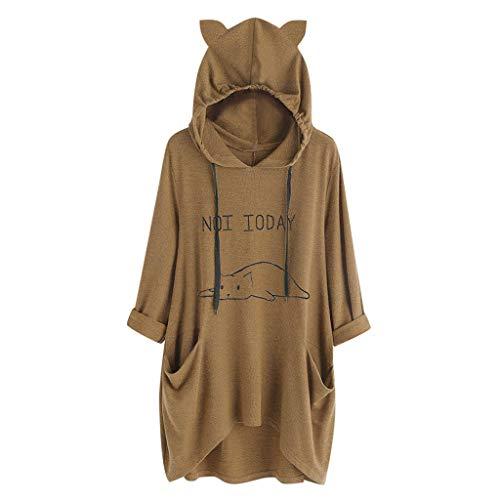 VEMOW Damenmode Tasche Lose Kleid Damen Rundhalsausschnitt beiläufige Tägliche Lange Tops Kleid Plus Größe(Y3-a-a-Kaffee, 48 DE/XL CN)