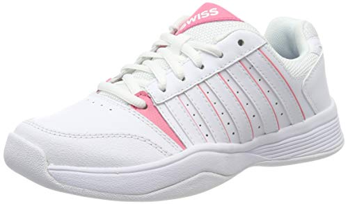 K-Swiss Performance Mädchen Court Smash Carpet Tennisschuhe, Weiß (White/Pink Lemonade/Gull Gray 154-M), 33 EU