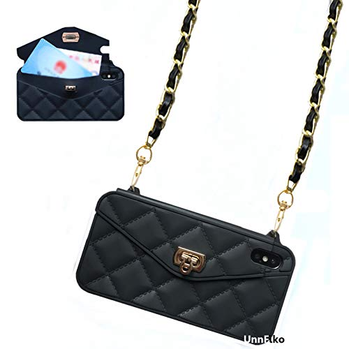 UnnFiko Wallet Case Compatiblewith iPhone 7 Plus/iPhone 8 Plus, Pretty Luxury Bag Design, Purse Flip Card Pouch Cover Soft Silicone Case with Long Shoulder Strap (Black, iPhone 7 Plus / 8 Plus)