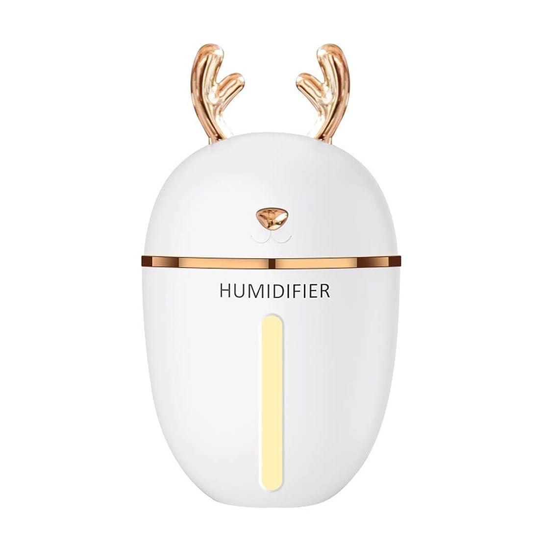 勃起肥満エントリLZAQ 加湿器usbミストmenglu ledインテークライト280ミリリットルポータブルエアアロマディフューザーモイスチャライザースプレー静かな操作寝室子供ベビールームミニ加湿器 TTT001 (Color : White)
