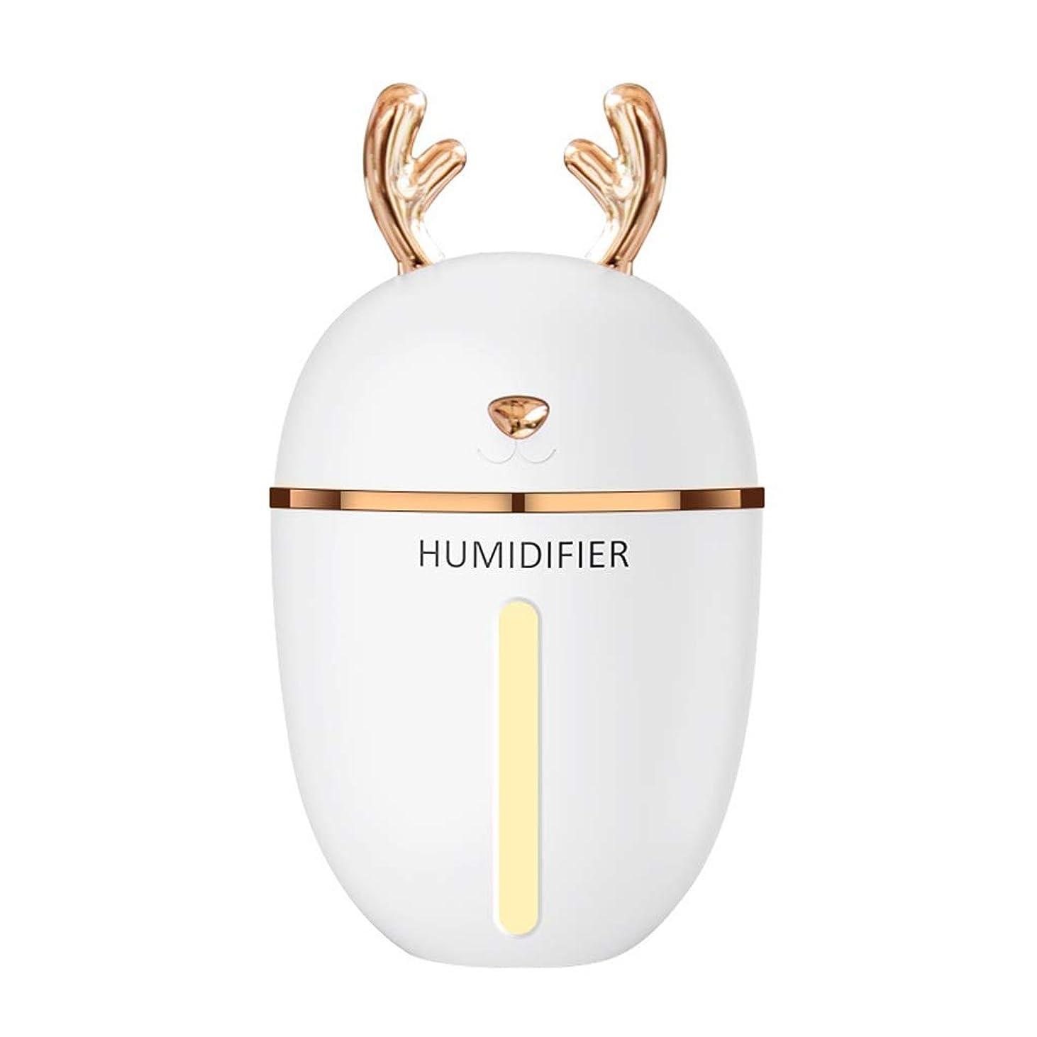 LZAQ 加湿器usbミストmenglu ledインテークライト280ミリリットルポータブルエアアロマディフューザーモイスチャライザースプレー静かな操作寝室子供ベビールームミニ加湿器 TTT001 (Color : White)