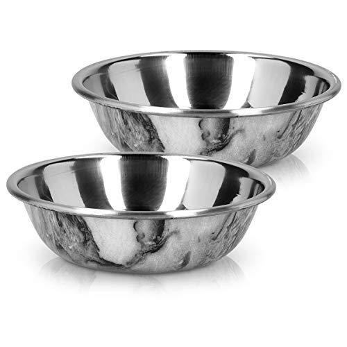 Navaris Fressnapf aus Edelstahl mit Marmor Optik - Hundenapf Katzennapf aus Metall - Napf für Hund und Katze - Futternapf div. Größen und Sets