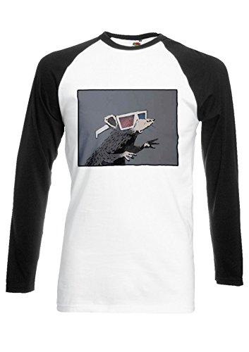Banksy Mouse Rat Funny 3d Glasses Black/White Men Women Unisex Long Sleeve Baseball T Shirt-L
