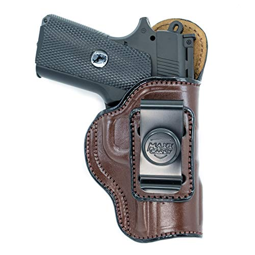 Cardini Leather USA Inside The Waistband Leather Holster for Kimber Ultra Carry II. IWB Holster with Clip Conceal Carry. Brown Right Hand.