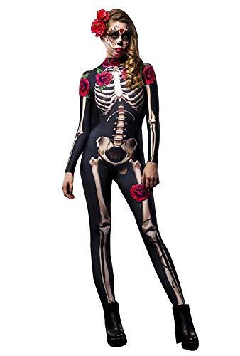 FeMereina Body Costume da Scheletro 3D per Donna con Stampa Posteriore - Cosplay Horror Rose Skull Ghost - Tuta Costume Scheletro Sexy (Rosso + Nero, S)