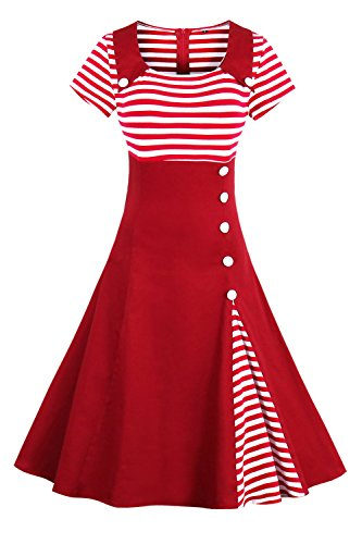 2017 Damen 50er Jahre Retro Kleid Swing Cocktailkleid Partykleid Pin up gestreift Lang, Rot 2, Gr. XXXL