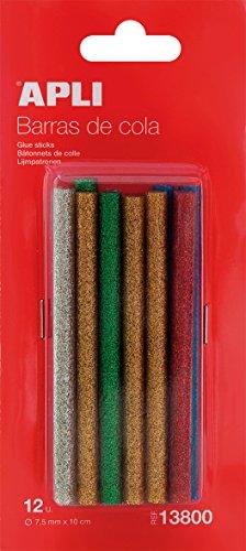 APLI Blister de 12 bâtons de colle couleurs à paillettes assorties