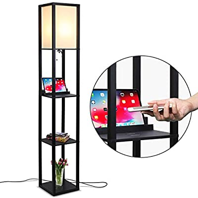 Brightech Maxwell LED Shelf Floor Lamp with Wireless Charging Pad - for Living Rooms & Bedrooms, 1 USB Port & 1 Electric Outlet - Modern Standing Light - Asian Display Shelves