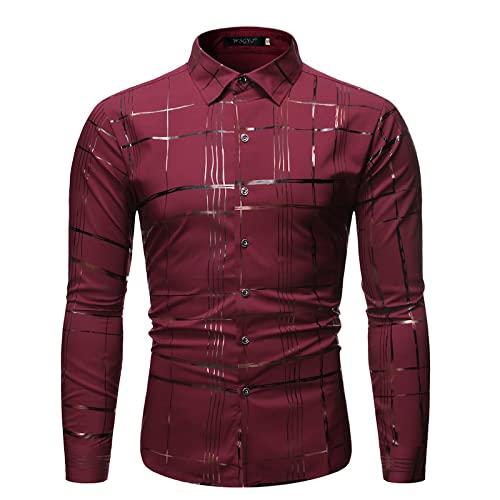 Camisa Estampada a Rayas para Hombre Solapa de Moda Clásico de un Solo Pecho Casual Trabajo de Oficina Básico Todo-fósforo Camisa de Ajuste Regular Top XXL